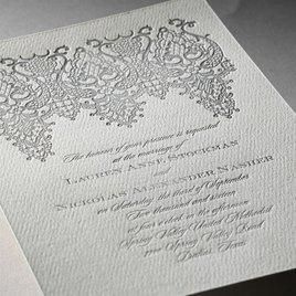 Chandelier Lace - Ecru - Featherpress Invitation