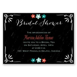 Chalkboard Flowers - Mini Bridal Shower Invitation