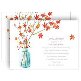 autumn and fall wedding invitations autumn arrangement invitation - Fall Themed Wedding Invitations