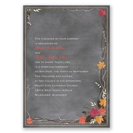 Chalkboard Autumn - Barn Red - Invitation
