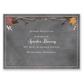 Chalkboard Autumn - Barn Red - Reception Card