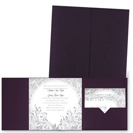 Damask Moon - Eggplant - Pocket Invitation