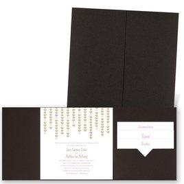Heart Garland - Brown Shimmer - Pocket Invitation