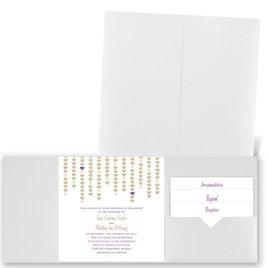 Heart Garland - White Shimmer - Pocket Invitation