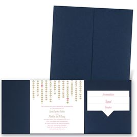 Heart Garland - Navy - Pocket Invitation