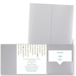 Heart Garland - Silver Shimmer - Pocket Invitation