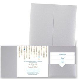 Heart Garland - Silver Shimmer - Pocket Invitation