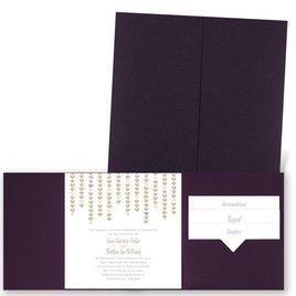 Heart Garland - Eggplant - Pocket Invitation