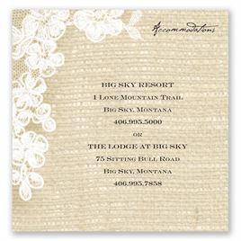 Burlap and Lace - Accommodations Card