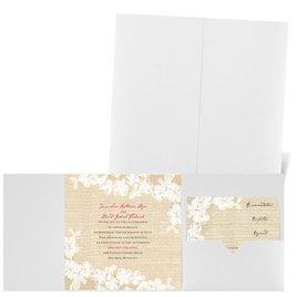 Burlap and Lace - White Shimmer - Pocket Invitation