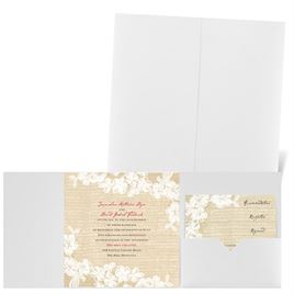 Burlap and Lace - White Shimmer - Pocket Invitation