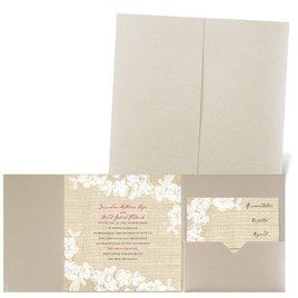 Burlap and Lace - Gold Shimmer - Pocket Invitation