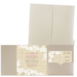 Burlap and Lace - Gold Shimmer - Pocket Invitation