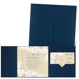 Burlap and Lace - Navy - Pocket Invitation