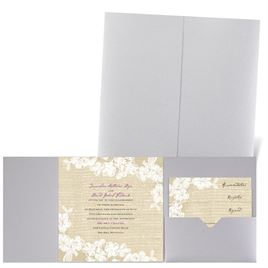Burlap and Lace - Silver Shimmer - Pocket Invitation