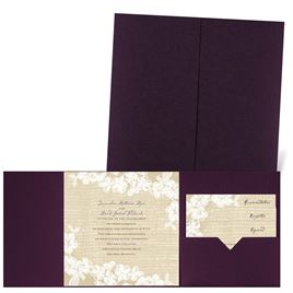 Burlap and Lace - Eggplant - Pocket Invitation