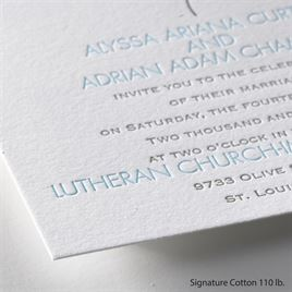 Falling Feathers - Letterpress Invitation