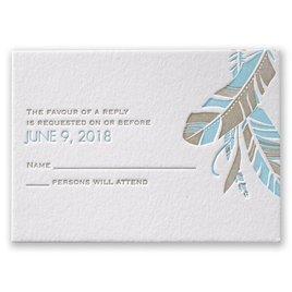Falling Feathers - Letterpress Response Card