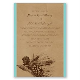 Pine Tree Treasures - Aqua - Invitation