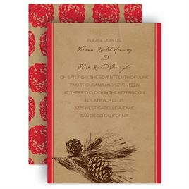 pine tree treasures invitation - Fall Themed Wedding Invitations
