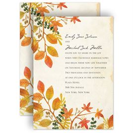 autumn and fall wedding invitations autumn hues invitation - Fall Themed Wedding Invitations
