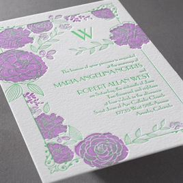 Rose Garden - Letterpress Invitation