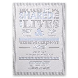 Lives Shared - Letterpress Invitation