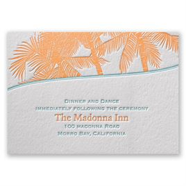 Tropical Escape - Letterpress Reception Card