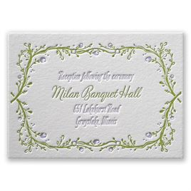 Flowers and Vines - Letterpress Reception Card