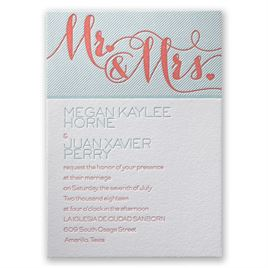 Hearts and Stripes - Letterpress Invitation