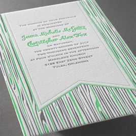 Rustic Woodgrain - Letterpress Invitation