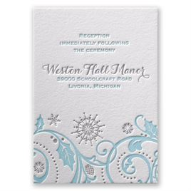 Winter Whimsy - Letterpress Reception Card