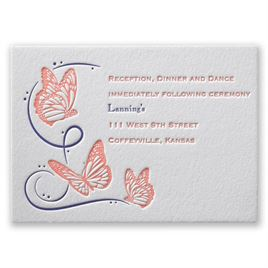Butterfly Breeze - Letterpress Reception Card
