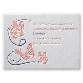 Butterfly Breeze - Letterpress Reception Card