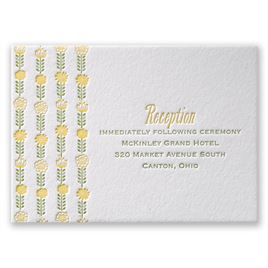 Floral Garland - Letterpress Reception Card