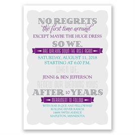 No Regrets - Vow Renewal Invitation