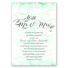 Watercolor Chevron - Mint - Vow Renewal Invitation