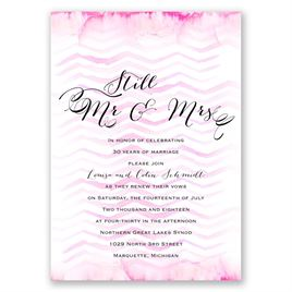 Watercolor Chevron - Pastel Pink - Vow Renewal Invitation