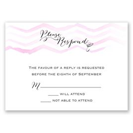 Watercolor Chevron - Pastel Pink - Response Card