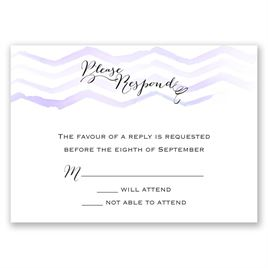 Watercolor Chevron - Orchid - Response Card