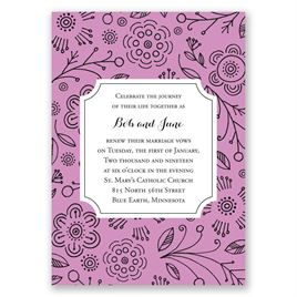Charming Doodles - Candy Purple - Vow Renewal Invitation