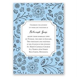 Charming Doodles - Pastel Blue - Vow Renewal Invitation
