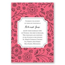 Charming Doodles - Posie Pink - Vow Renewal Invitation