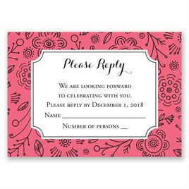 Charming Doodles - Posie Pink - Response Card