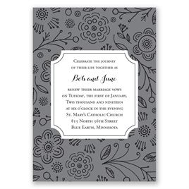 Charming Doodles - Pewter - Vow Renewal Invitation