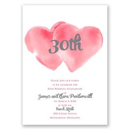 Two Hearts - Barn Red - Anniversary Invitation