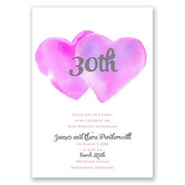 Two Hearts - Fuchsia - Anniversary Invitation