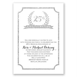 25th Crest - Faux Glitter - Anniversary Invitation