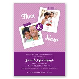 Then and Now - Grapevine - Anniversary Invitation