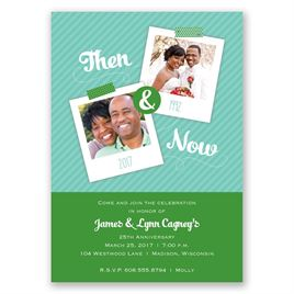 Then and Now - Kelly Green - Anniversary Invitation